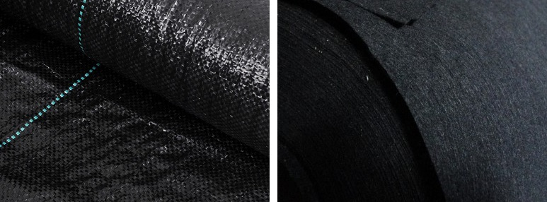 A sinistra: Pellicola per pacciamatura – A destra: Telo pacciamatura